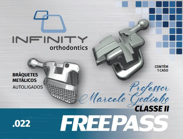 KIT-DE-BRAQUETES-FREEPASS-AUTOLIGADO-GODINHO-CLASSE-II---PRESCRICAO-MBT-.022----COM-GANCHO-NOS-CANINOS-E-PRES---INFINITY
