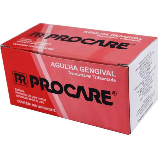 AGULHA-GENGIVAL-DESCARTAVEL-TRIFACETADA-27-G-LONGA---PROCARE